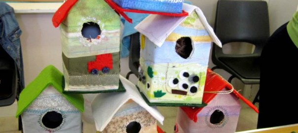 Young Embroiderers bird houses.