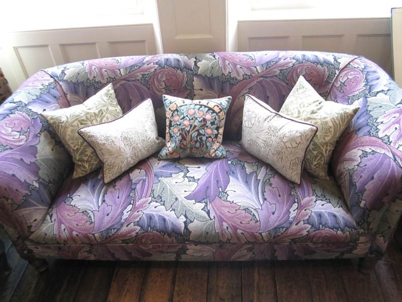 Purple sofa in Standen House.