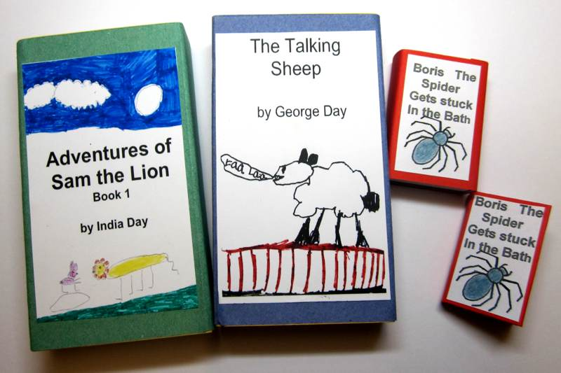 Books housed in matchboxes