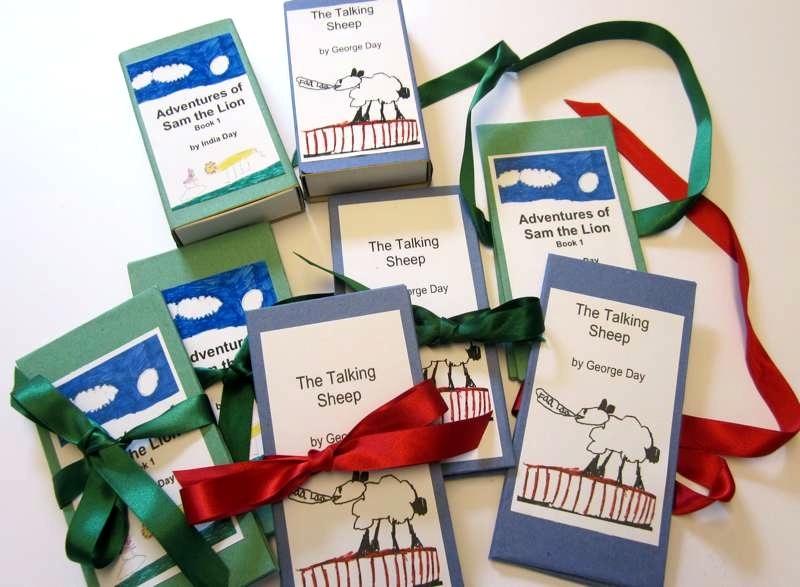 A selection of children's handmade books.