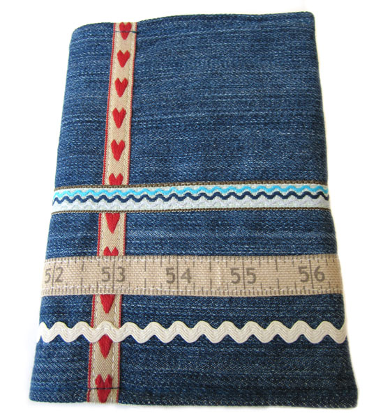 Book cover made from old jeans.