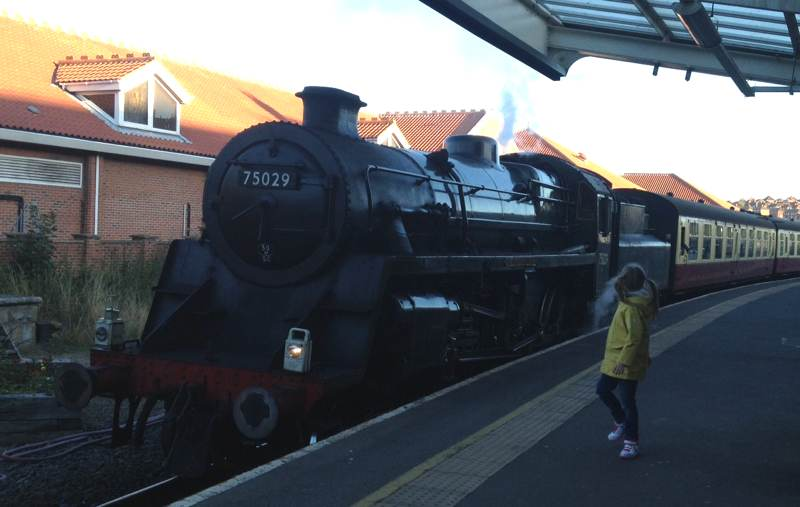 Steam train at Whitby Station.