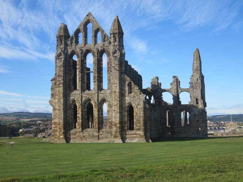 Whitby abbey above the town of Whitby.