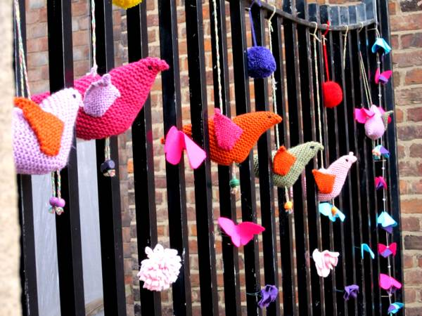 Birds and flowers on the railings at Derby Silk Mill.