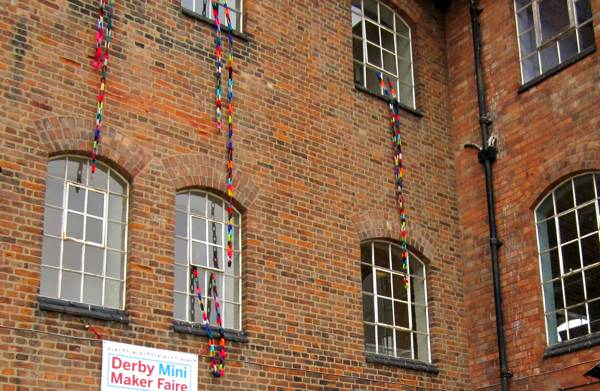 Woolen chains yarn bombing Derby Silk Mill.