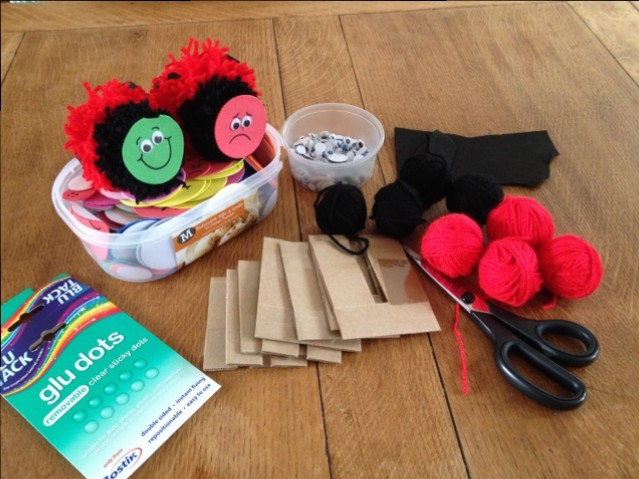 Items needed to make pom pom ladybirds
